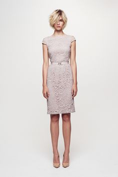 LOVE IT! Corded lace cap sleeve dress sits just above the knee and is fitted throughout the body. Featuring a round neck and waisted belt, and fully lined. #Collette #Dinnigan