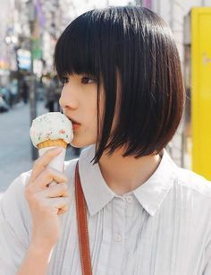 Short Asian Straight Bob Hairstyle With Blunt Bangs