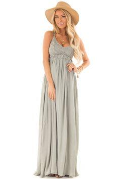 7ef7cd27674 Sage Green Backless Maxi Dress with Crochet Bodice Detail