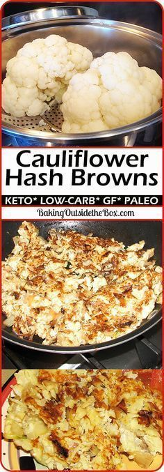 Low-Carb cauliflower hash browns. This cauliflower recipe is so good, so easy, and so low carb, that you will find them irresistible. Great for Atkins, keto, and other low carb diets. Paleo option too!