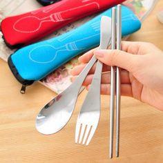 3Pcs Japanese Portable Wood Chopsticks Spoon Fork Tableware Cutlery Set CA