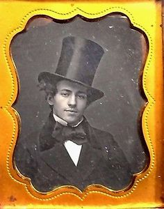 Daguerreotype 1840's Heartthrob YOUNG MAN, Stovepipe TOP HAT Moustache,Sly Smile