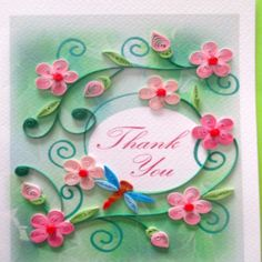 Thank You Card- Pink Flowers with Dragonfly