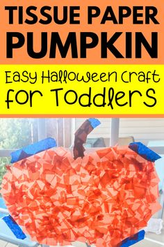 Easy Halloween pumpkin craft for toddlers and preschoolers! No glue required for this contact paper pumpkin craft - super easy and no mess. Fun indoor activity and doubles as easy DIY Halloween decoration! Easy Toddler Crafts, Halloween Crafts For Toddlers, Toddler Art Projects, Toddler Halloween, Easy Halloween, Fall Pumpkin Crafts, Easy Fall Crafts, Paper Pumpkin, Indoor Activities For Toddlers
