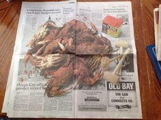 Two page ad for Old Bay Spices....so realistic with a photo of crabs, mallets, and a can of Old Bay. In the Baltimore Sun May 25, 2014