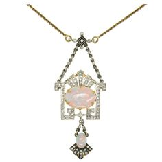 1stdibs.com | FABERGE Opal and Diamond Necklace