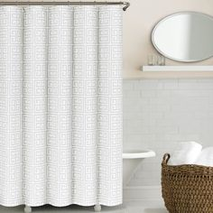 Greek Key shower curtains by Echelon Home feature a classic Greek Key motif in white.Features:Greek Key collectionMa...