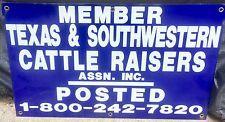Vtg 1950's TEXAS & SOUTHWESTERN CATTLE RAISERS Assc Porcelain SIGN  Outstanding!