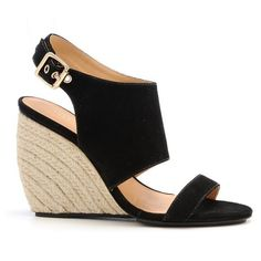 Suri Wedges- Black ❤ liked on Polyvore