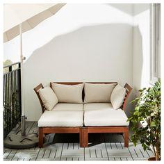 ÄPPLARÖ 2-seat sofa w 2 footstools, outdoor Brown stained/hållö beige 160x143x73 cm  - IKEA