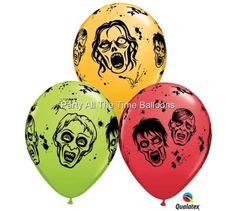 12-NEW-Zombie-The-Walking-Dead-Latex-Balloons-11-inch-Halloween-Free-Shipping