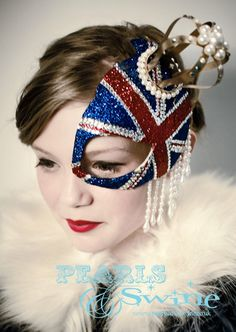 Queens Jubilee British Union Jack Half Mask Fascinator Gold Crown Hat Ascot Pearls Glitter Avant Garde Fashion Headdress by Pearls & Swine. via Etsy. Will try not to upstage the queen with this. Union Jack, Half Mask, Gold Crown, Masquerade Ball, Queen, Headdress, Fancy, Vintage, Inspiration