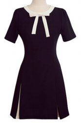 OL Style Short Sleeve Bowknot Design Women's Mini Dress in Black | Sammydress.com Mobile