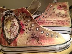 Hand painted hi tops Alesana Sleeping with by andreabetteridge, $78.00