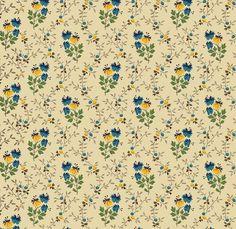 Marcus Fabrics Molly Bs 1800s Bessies Blues Flower Stem Blue/Cream