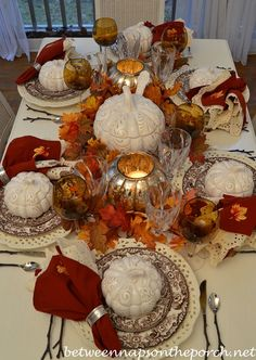 This is so beautiful! Look at the twig handles on the silverware! The mini pumpkin tureens are adorable and the touch of sparkle from the mercury glass candle holders really makes the table shine! From Fall Tablescape Table Setting with Spode Woodland, Pumpkin Tureens and Twig Flatware_wm