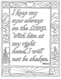 Coloring Pages For Kids By Mr Adron Psalm 16 8 Printable Page