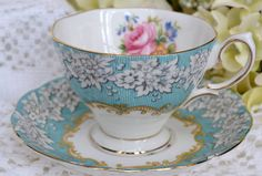 Vintage Royal Albert Fine Bone China Tea Cup and Saucer, Enchantment, Aqua…
