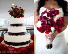 vibrant and bold winter wedding bouquet of roses and calla lilies