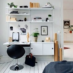 Superb office corner. Lovely desk. Looking good for small space.  #interior #furniture #office #desk #chairs