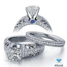 2.65 Ct Princess Cut Diamond & Sapphire 925 Silver Women's Bridal Ring Set 5 6 7 #Affoin8