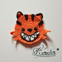 Krawka: Halloween Coasters - Pumpkin Cat.  FREE PATTERN 9/14.