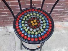 DIY upcycle bottle caps, concerted into barstool, home furnishings