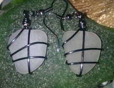 Snowy White Wire Wrapped Dangle Sea Glass by MermaidsCavern, $12.00