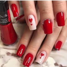 Clique na Foto 2 Vezes e Aprenda Fazer Lindas Unhas de Gel, Acrigel e de Fibra. Valentine's Day Nail Designs, Acrylic Nail Designs, Cute Acrylic Nails, Gel Nails, French Nails, Valentine Nail Art, Fire Nails, Heart Nails, Nagel Gel