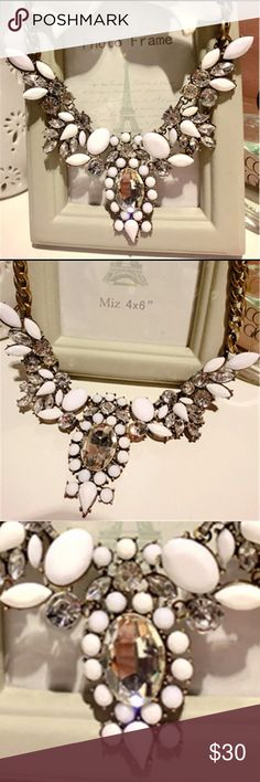 """Statement Necklace Bib white gold 💗👑 💎 Gorgeous white and gold statement necklace New with tags   Chain length 30cm+5cm/11.8""""+1.97"""" Pendant length: 12cm /5.51"""". 💗👑Never offended by offers 💗👑 Jewelry Necklaces"""
