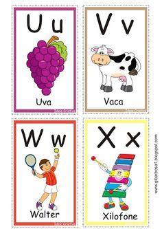 Alfabeto ilustrado super fofo cartas para jogar