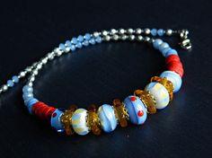 Rosso blu Murano collana argento rosso blu collana breve