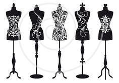 Set of vintage mannequin silhouettes dress form por Illustree, $5.00