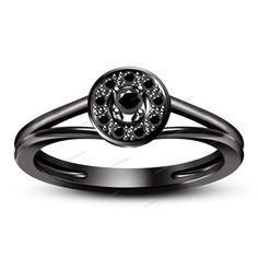 Prong Set Split Shank Round Cut Genuine Diamond 14K Black Gold Finish Size 5-11 #aonedesigns