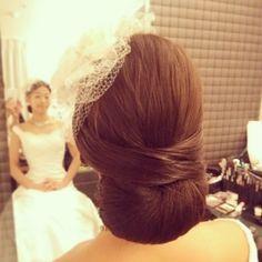 シンプルヘア♪きちんと上品な感じも素敵♪  #ヘアアレンジ#ヘアセット#ヘアメイク#ヘア#ヘアスタイル #シンプル#上品#マーメイド#結婚式#髪型#ブライダル#wedding#bridal#bridalhair #hair#ウェディングドレス#instagram