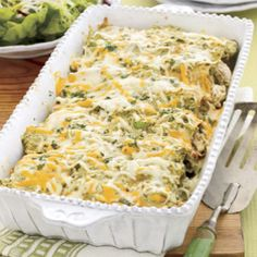This salsa verde enchilada  recipe makes two casseroles so you can enjoy a cheesy dinner and have one stashed away for another chilly fall night.