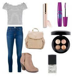 """Middle school back to school outfits"" by taylorolsen-i ❤ liked on Polyvore featuring Frame Denim, Lipsy, Journee Collection, Maybelline, Jimmy Choo, Lane Bryant and MAC Cosmetics"