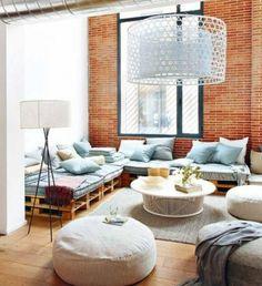 meuble en palettes de bois canapé moderne et chic