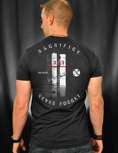 It has been 15 years since 09-11-01. Every year I try to add a shirt to the line in honor of the 343 around 9-11. I know we will not forget their great sacrifice. But I do feel that the general public needs a reminder, just alittle memory jog of the great sacrifice of not just our brothers but of many innocents on that day. AND a reminder that the sacrifice continues. I hope the 343 find this tribute shirt (as all our others) befitting of their memory.