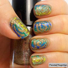 Abstract Gold Roses over multicolored stripes Nail Art.    essence-colour-&-go-LOL-roller-coaster-let's-get-lost-sally-hansen-green-with-envy-tip-top-nail-chic-hap-pea-sinful-colors-mint-apple-endless-blue-catrice-mermaid-my-day-nail-addict-by-tip-top-night-life-revolution-emerald