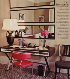 Stack horizontal mirrors to create a luxurious feeling of space - and it's much less expensive than buying one large mirror. 23 ways to make your tiny apartment feel huge. Home Living, Apartment Living, Living Room, Apartment Ideas, Apartment Therapy, Tiny Apartment Decorating, Decorate Apartment, Cheap Apartment, Bedroom Apartment
