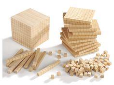 CUBE BASE 10 en bois - Cubes et flèches base 10 - Nombres et calcul - Mathématiques - Matériel éducatif 6/12 ans