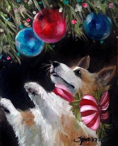 Pembroke Welsh corgi Christmas Cards and Prints by Mary Sparrow of Hanging the Moon Studio. Custom paintings available , come follow us at www.facebook.com/hangingthemoon