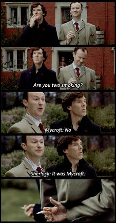 """Mycroft and Sherlock are so afraid of Mummy Holmes. And Mycroft opts to be noble and protect himself and his little brother, whereas Sherlock is like """"abandon ship! Throw Brother Mine under the bus! Sherlock John, Sherlock Fandom, Holmes Sherlock Bbc, Sherlock Quotes, Jim Moriarty, Funny Sherlock, Sherlock Poster, Sherlock Season, Benedict Sherlock"""