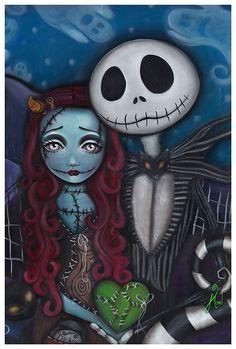 This Is True Love Art Print by Artist Abril Andrade #jackskeleton #nightmarebeforechristmas #sally