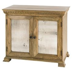 Verity French Country Rustic Wood Antique Mirror Small Buffet   Kathy Kuo Home