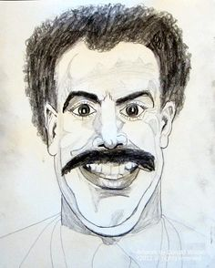 Borat Sacha Baron Cohen Portrait Drawing Celebrity VIP SuperStar Mega Box Office Comedy Genious Drawing  - Borat Sacha Baron Cohen Portrait Drawing Celebrity VIP SuperStar Mega Box Office Comedy Genious Fine Art Print
