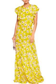 Amalia Ruffled Floral-print Crepe Wrap Maxi Dress - Yellow Paul & Joe Qe6Lw