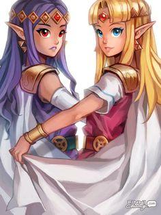 Princess Hilda of Lorule and Princess Zelda of Hyrule.
