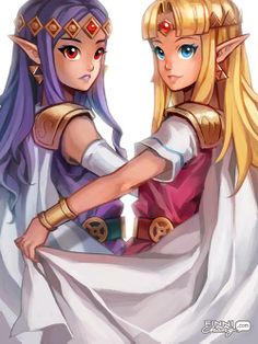 Princess Hilda of Lorule and Princess Zelda of Hyrule.